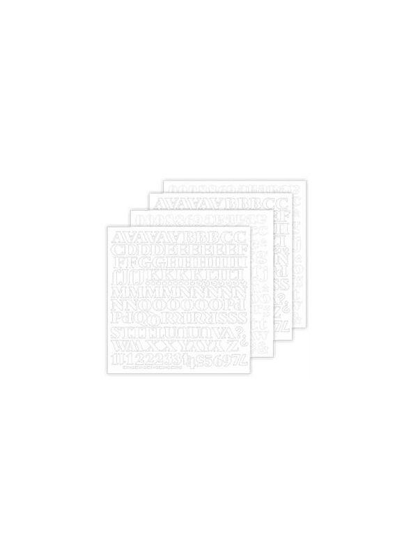 Black Noir White Alphabet Stickers